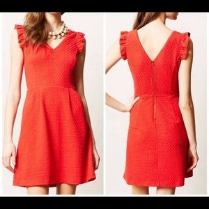 Anthro Red Dress with Pockets
